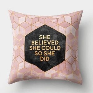Pink Geometric Decorative Pillow Cover